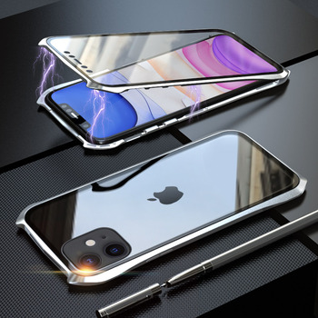 360 Full Protective Case For iphone 11 case Metal Magnetic Adsorption For iphone 11 pro max 2019 New Cases Cover Bumper Coque - For iPhone 11Pro Max, Silver 360