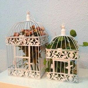 Модная свадебная клетка для птиц, железное украшение для дома, квадратная клетка для птиц, декоративная клетка на заказ, цвета черный, белый,...