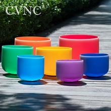 "CVNC 8""   14"" set of 7pcs Colored  Frosted Quartz Chakra Crystal Singing Bowls"