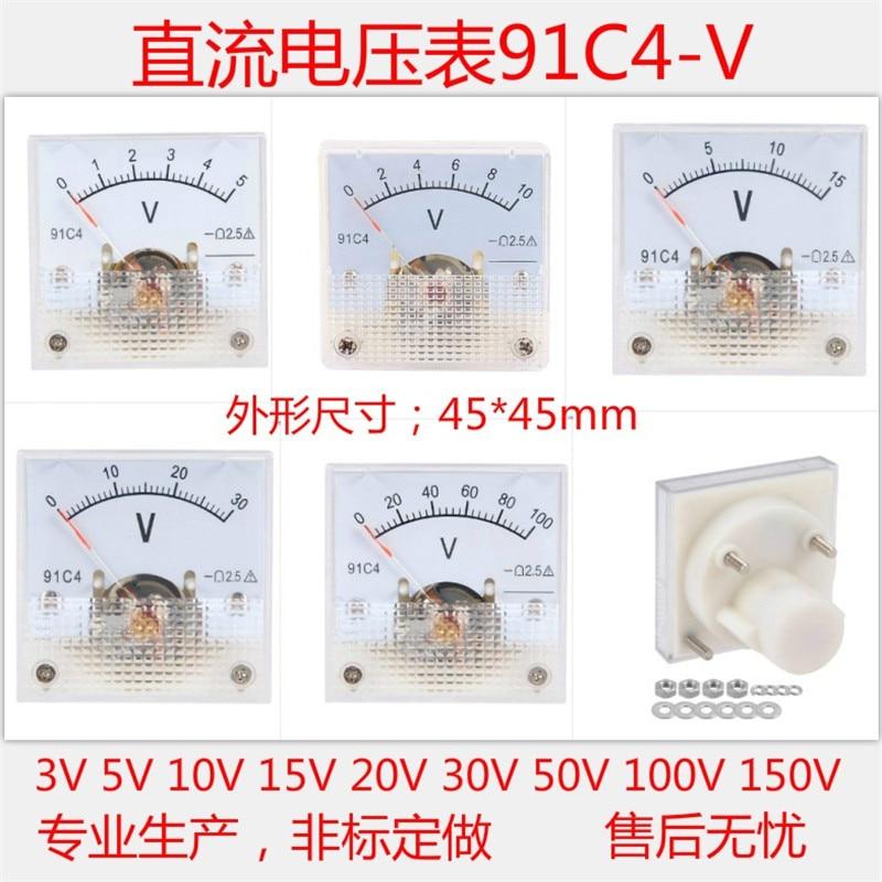 DC 3 5 V 10 V 15 V 20 V 30 V 50 V 100 V 150 V 250 V Аналоговый Панель вольт Напряжение Вольтметр Манометр 91C4