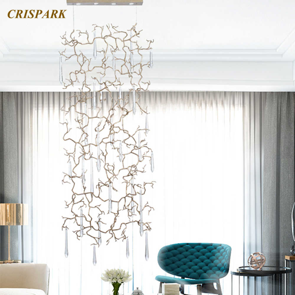 Modern Lampu Gantung Tembaga LED Kaca Bening DROP Lampu Gantung Gaya Art Deco Kreatif Liontin Dekoratif Lampu Gantung