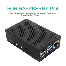 Aluminum Alloy Metal Case Cooling Heatsinks Black Silver Fit For Raspberry Pi 4 Enclosure Protective Box Shell