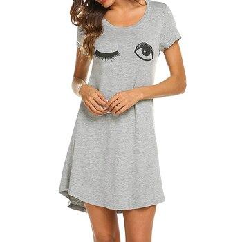 2020 Women Letter Nightgowns And Sleepshirts Sleepwear Cute Sleep Shirt Printed Night Dress Short Sleeve Nightwear 2