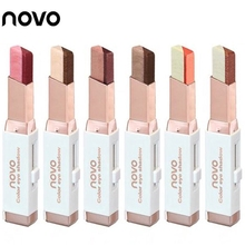 NOVO Eye Makeup Shimmer Earth Color Eye Shadow Cream Pen Double Color Stereo Gra
