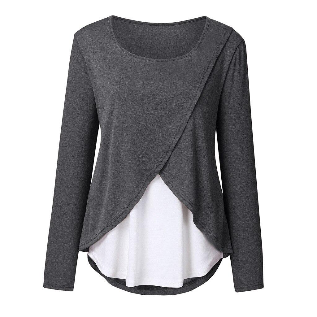 TELOTUNY Women's Nursing Top maternity Blouse clothes Pregnant Long Sleeve Breastfeeding Shirt breast feeding top gd07