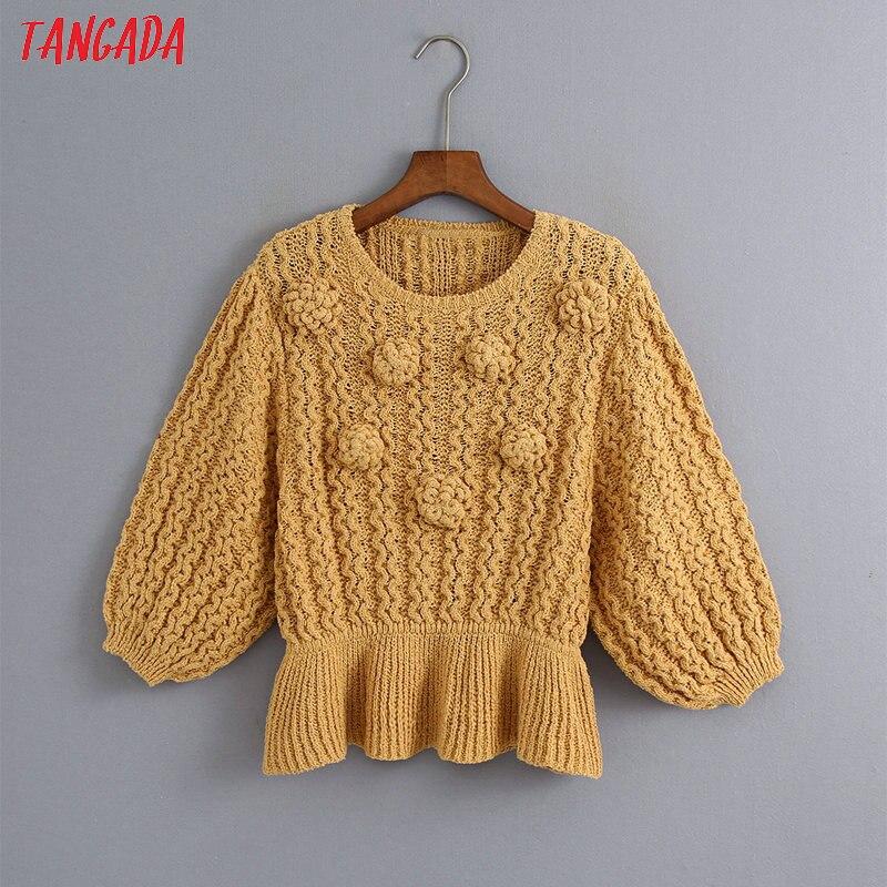 Tangada-suéter con bola decorativa para mujer, Túnica de cuello redondo de manga corta, Jersey de punto, tops 6Z21, otoño 2020