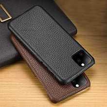 Caso de couro genuíno para o iphone 11 pro max xs max xr capa iphone 6s 7 8 plus 11pro se 2020 caso de telefone luxo litchi
