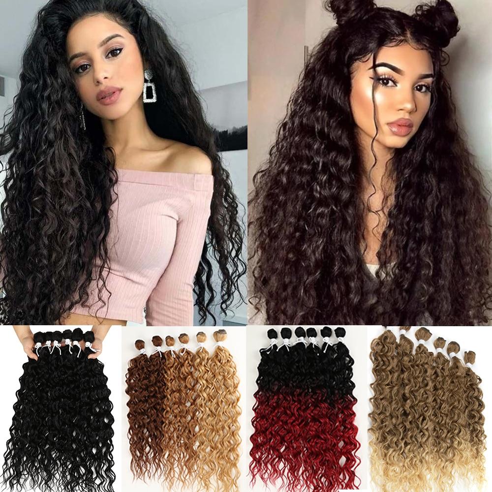 Extensões de Cabelo Sintético para Preto Resistente ao Calor Afro Kinky Curly Cabelo Pacotes Ombre Marrom Feminino 24-28 Polegada 6 Pçs Clássico Mais
