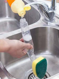 Scrubber Couring-Pad Sponge Cleaning-Brush Kitchen-Dish with Refill Liquid-Soap Dispenser