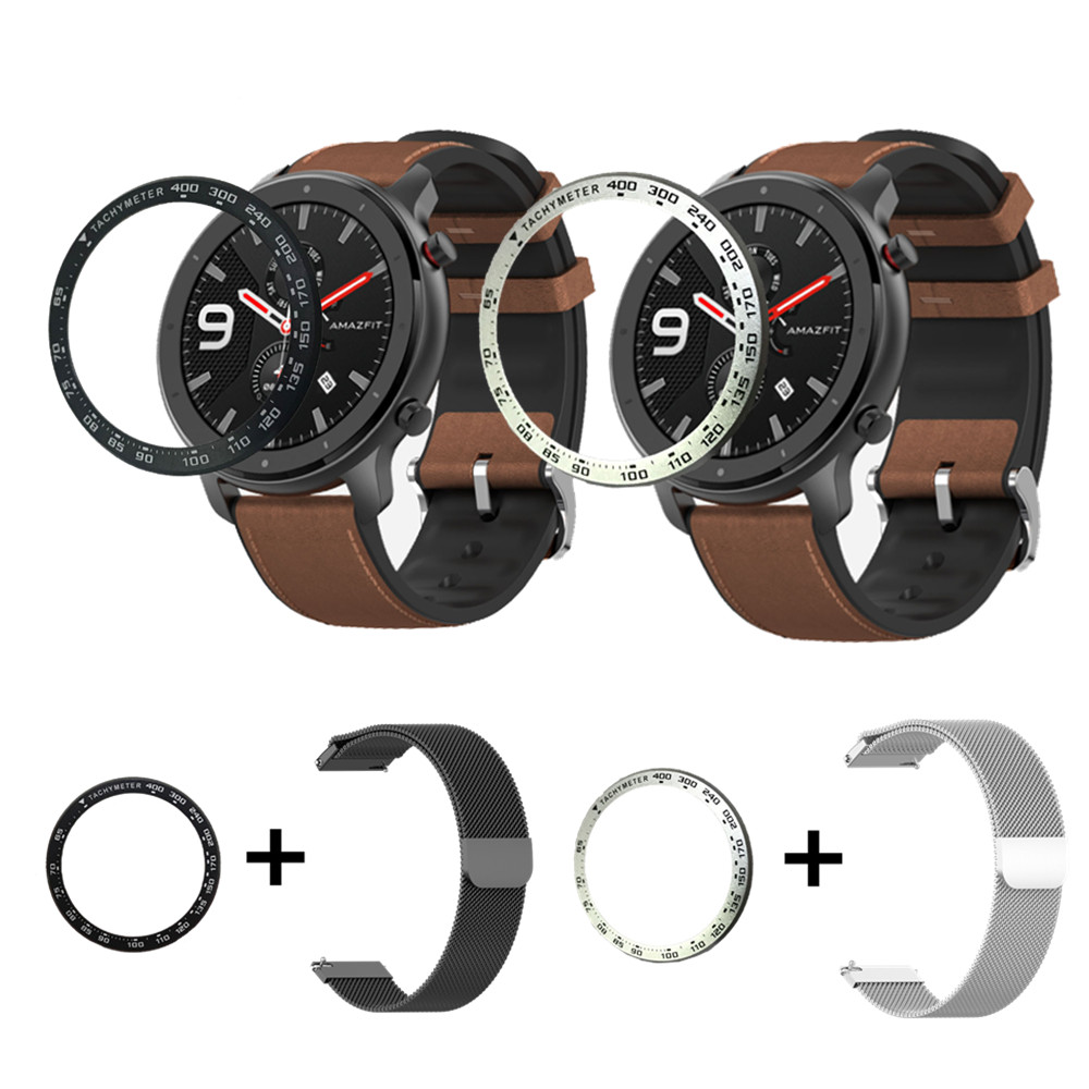 For Xiaomi Huami Amazfit GTR 47mm Metal Bezel Milanese Bracelet Watch Band+Outer Edge Cover 2in1 For GTR 47mm Strap Speed Case