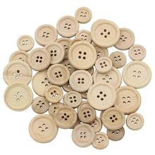 New 50 pcs Natural Color Wooden Buttons handmade round shape and 4-holes wood button craft DIY baby apparel accessories