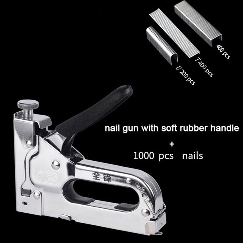TRANVON Nail Gun Riveter Stapler Furniture Manual Framing Nail Gun Kit for Wood Carpentry 3-in-1 Stapler Door Nailers Rivet Tool(China)