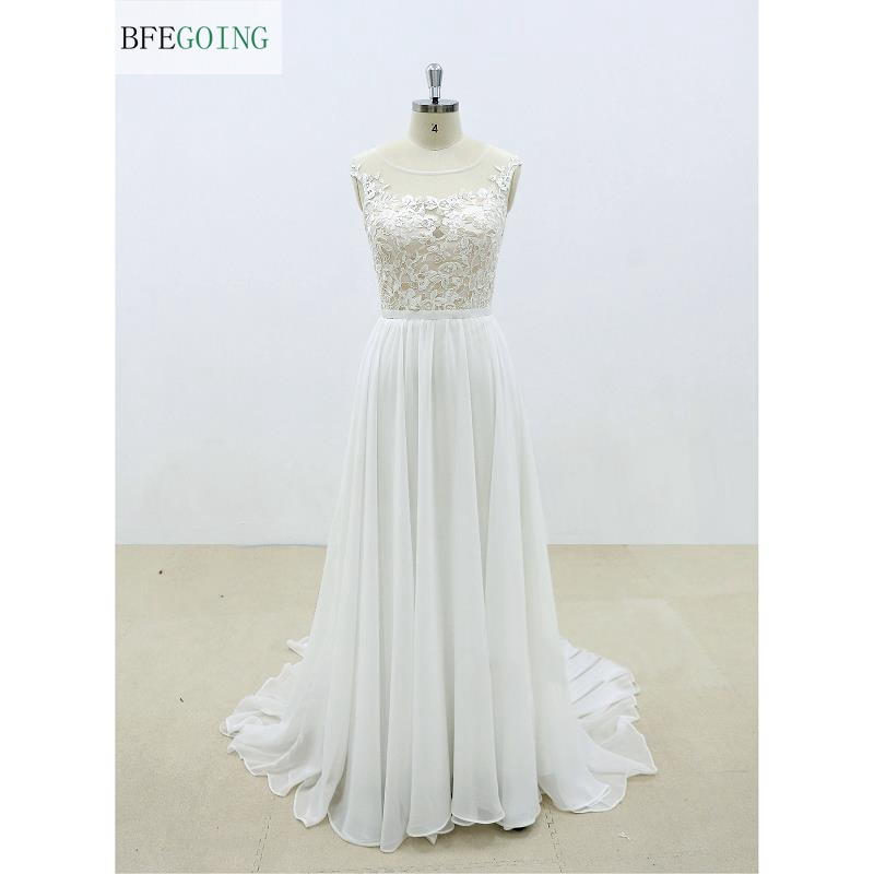 Ivory Chiffon Lace Appliques Floor-length Scoop Sleeveless A-Line Wedding Dress Chapel Train Custom Made