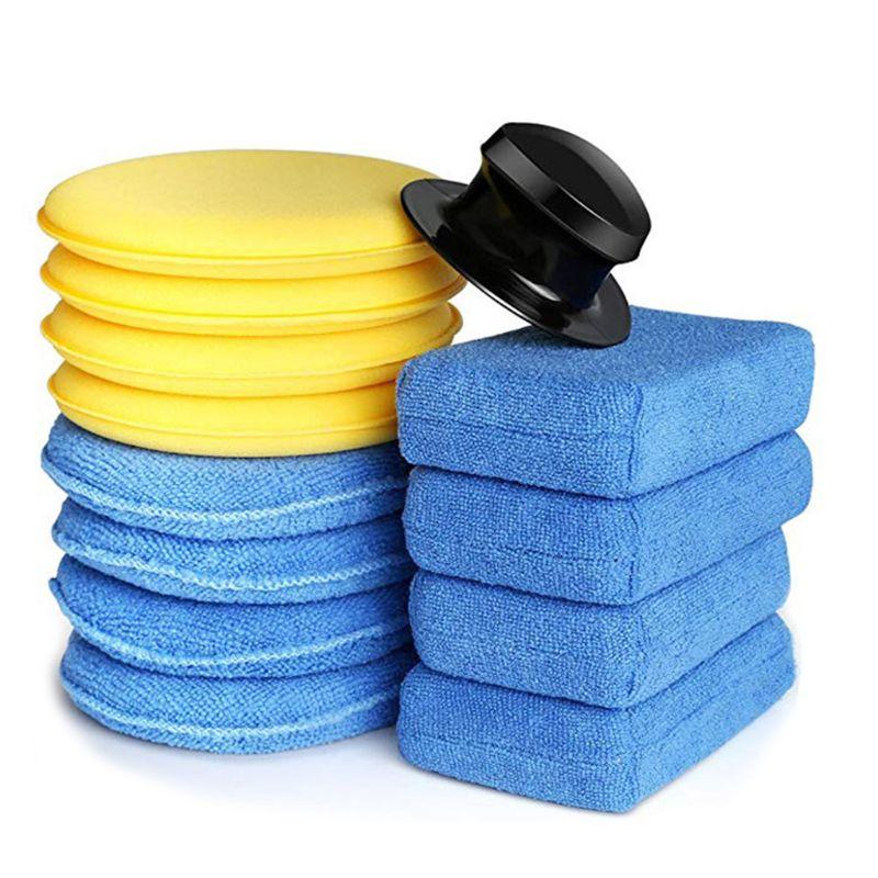 13 pcs conjunto carro polones cera de espuma esponjas multiuso limpa manutencao livre de arranhoes aplicador