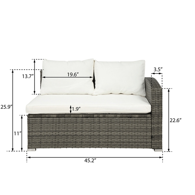 4 PCS Outdoor Cushioned PE Rattan Wicker Sectional  6