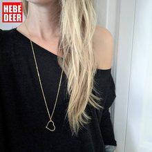 Hebedeer colar longo jóias meninas coração pingente de corrente feminino cor de ouro amarelo do vintage na moda colar gargantilha collier