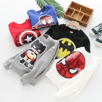 2020 Kid Baby Boy Hoodies Cotton Sequin Cartoon Sweater Plus Velvet Autumn Winter Batman Children Toddler Top Thicken Sweatshirt 1
