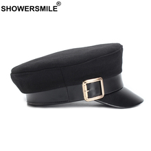 SHOWERSMILE Women Military Hat Woolen Autumn Female Flat Army Buckle French Leather Brim Ladies Black Captain Sailor
