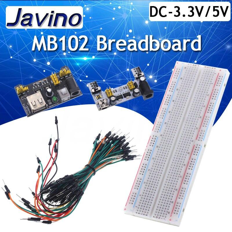 3,3 В/5 В MB102 макетная плата силовой модуль + MB-102 830 точек без пайки прототип хлебная плата комплект + 65 гибких перемычек DIY kit