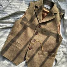 Chalecos de traje marrón para hombre, chaleco negro, chaqueta Steampunk para hombre, chaqueta de Tweed a rayas con cuello de pico, chaleco entallado para hombre, ropa de boda