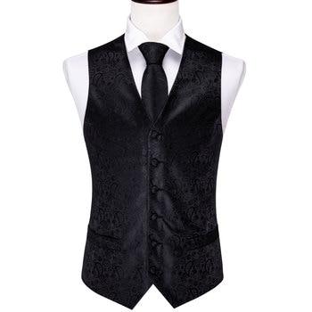 Designer Mens Classic Black Paisley Jacquard Folral Silk Waistcoat Vests Handkerchief Tie Vest Suit Pocket Square Set Barry.Wang 20