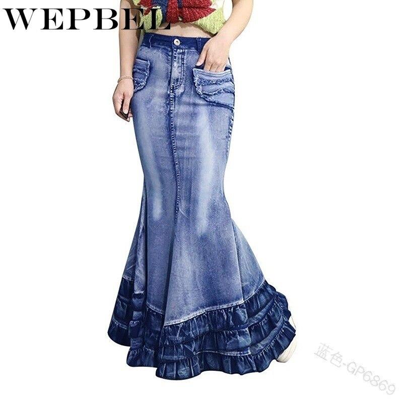 WEPBEL Women Skirt Mermaid Trumpet High Waist Denim Casual Fashion New Ladies Long Skirts