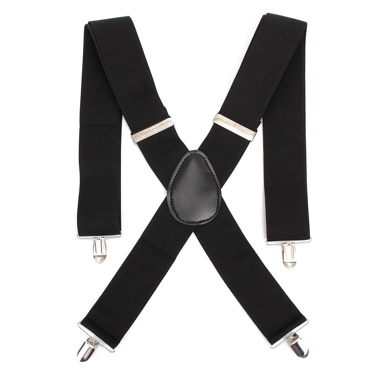 Adjustable Elastic Nylon Leather Men Suspender Straps X Shape Clip-on Men's Suspenders 4 Clip Pants Braces For Male Belt Straps
