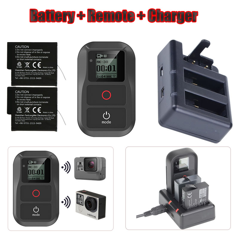 New 3 in 1 For <font><b>GoPro</b></font> Hero 6 7 8 <font><b>Battery</b></font>+3-Way Remote Charger+Hero 6 7 5 Smart Waterproof Wifi Remote Control For <font><b>GoPro</b></font> Accessory image