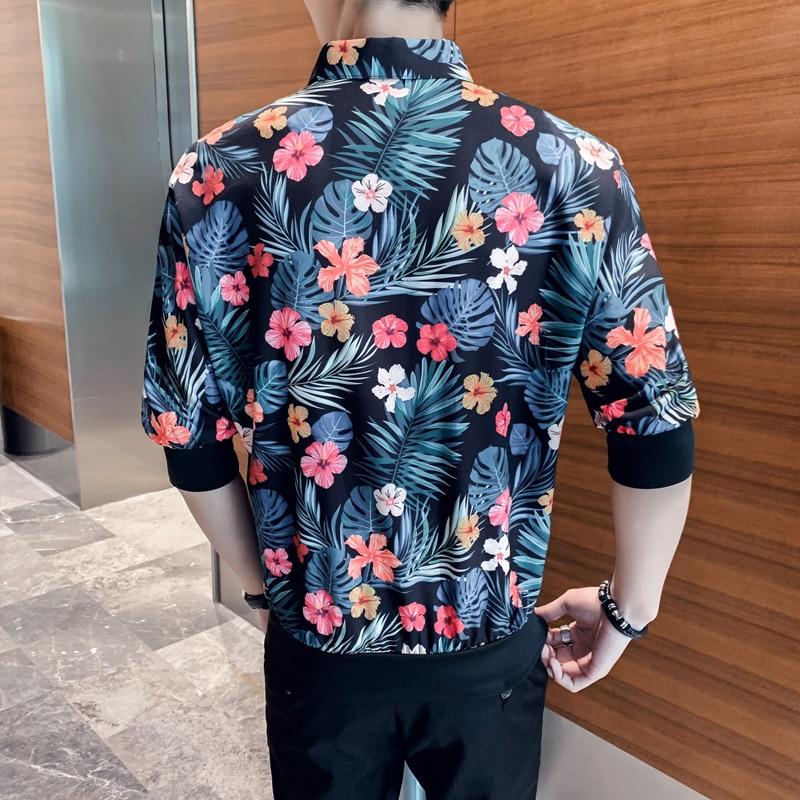Image 3 - British Style Men Floral Shirts Brand New Summer Loose Shirt Men Half Sleeve Turn Down Collar Streetwear Blouse Homme Hot SaleCasual Shirts   -