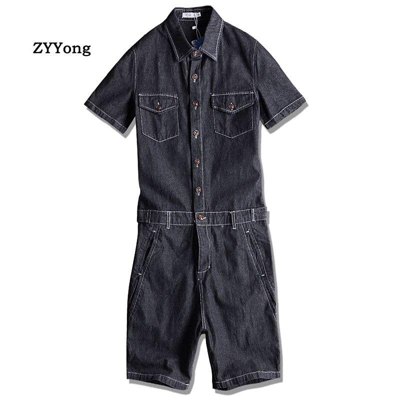 Summer Men Denim Jumpsuit Lapel Short-Sleeve Alphabet Cartoon Printing Overalls Hip-Hop Streetwear Jeans Short Cargo Pants