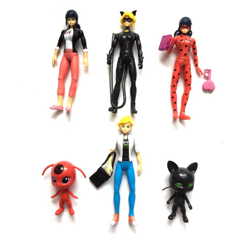 14pcs//set Movie Ladybug Doll Action Figure Toys PVC Lady bug Cat Noir Collection