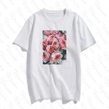 Rosas Rosadas Minimalistas Women Tshirt Aesthetic Harajuku Vintage Kawaii Plus S