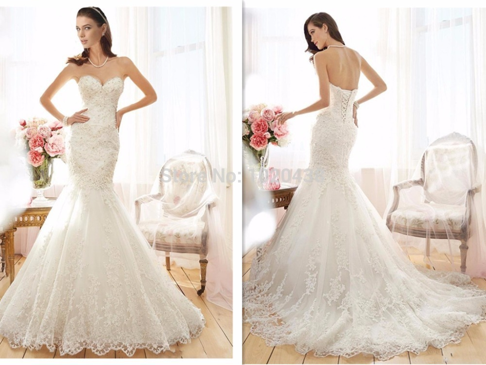 2018 Vestido De Noiva Mermaid Beaded Lace Appliques Sweetheart Lace-up Court Train Bridal Gown Mother Of The Bride Dresses