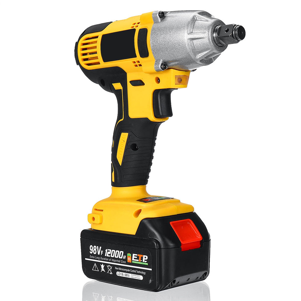 Tools : ALLSOME 98VF 320Nm Electric Impact Wrench Rechargeable 1 2 Socket Wrench Power Tool Cordless HT2786