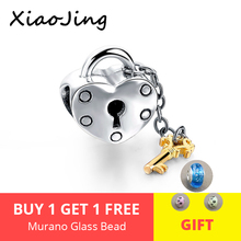 XiaoJing 925 sterling silver Lock of Love Charms Beads Fit original pandora charm bracelet for jewelry making gifts wholesale