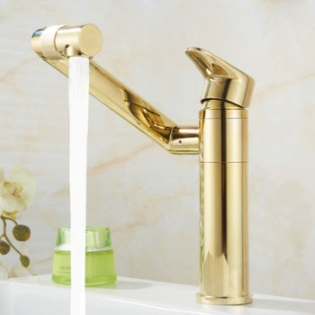 Bathroom Basin Faucet Hot & Cold Sink Mixer Tap Brass Rotating Lavatory White Baking Water Crane Tap Single Handle Deck Mounted 19