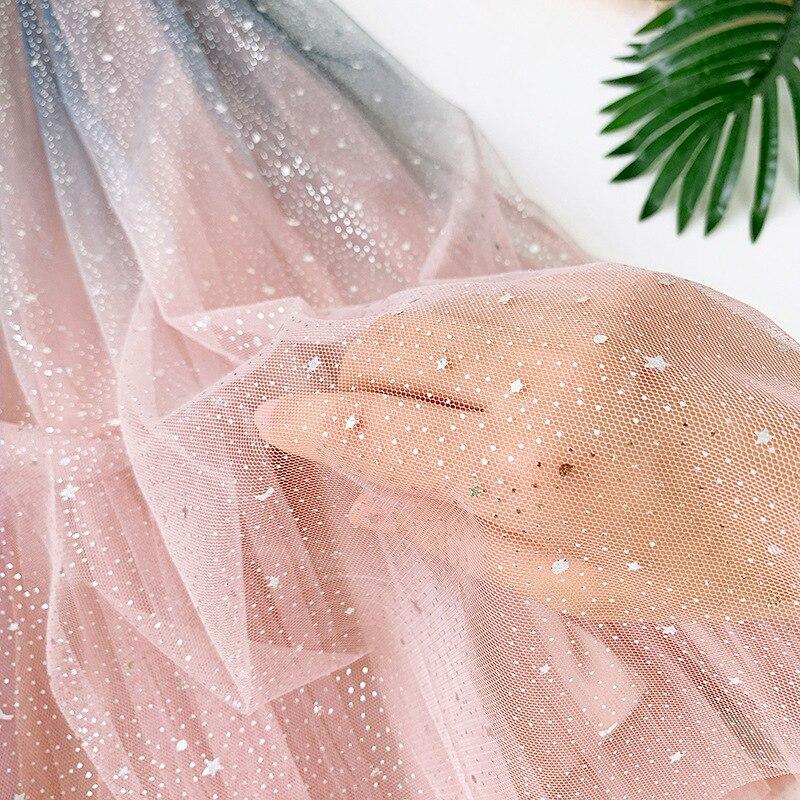 Gradient Color Skirt Summer New Style Star Tutu Flashing Sequin Mesh Skirt Sweet Elegant Fairy Skirt