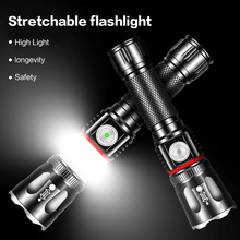 Outdoor Waterproof LED Flashlight Portable Rechargeable T6 Flashlight Retractable Focusing For Fishing Camping