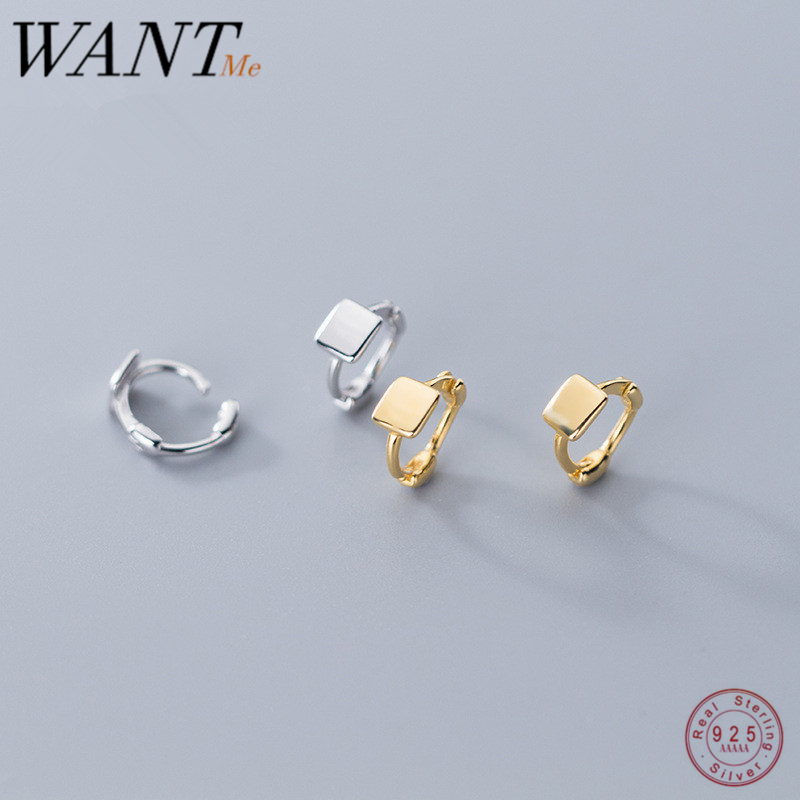 WANTME Real 100% 925 Sterling Silver Minimalist Geometric Square Small Mini Stud Earrings for Fashion Women Teen Jewelry Gift