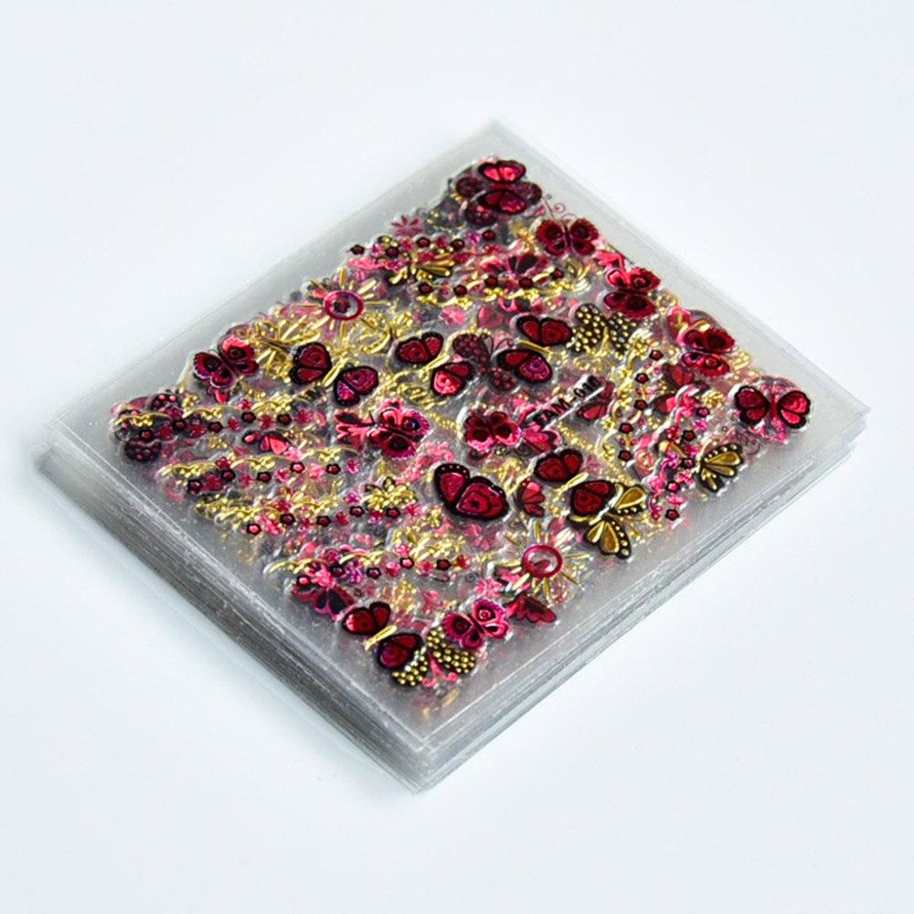 Autocollants fleurs 3D, motif papillon, adhésif pour manucure, décalcomanies, or, rouge et bleu, 5x6cm, 30 feuilles/lot, HJ/001