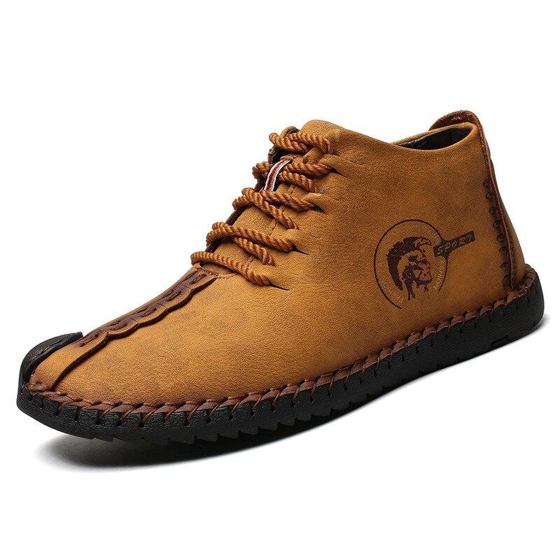 Fashion Men Boots High Quality Split Leather Ankle Snow Boots Shoes Warm Fur Plush Lace-Up Winter Shoes Plus Size 38~48