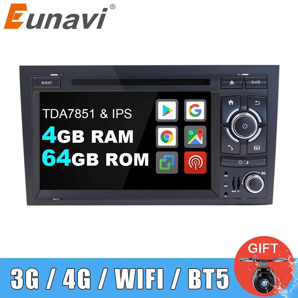 Eunavi 2 Din Car Multimedia Player Radio GPS Android 9 DVD For Audi/A4/S4 2002-2008 Automotivo 2Din DVD Head Unit 4G 64GB DSP BT image