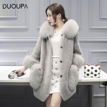 2019 Autumn and Winter New Artificial Fur Warm Coat One Long Sheep Shearing Lamb Female Woolen Wool Collar
