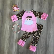 new baby girls Winter Christmas Santa claus pink leopard pants sets cotton boutique ruffles pants children match accessories