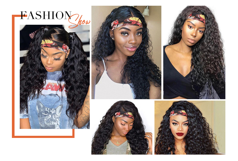 Water Wave Wig Natural Color Headband Wig Scarf Wig180% Density ISEE HAIR Brazilian Water Wave Human Hair Wigs For Women