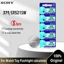 5PCS 100% Original SONY 379 SR521SW AG0 D379 SR63 V379 1.55V óxido de Prata Botão Célula Tipo Moeda Baterias Para O relógio de brinquedo FEITA NO JAPÃO