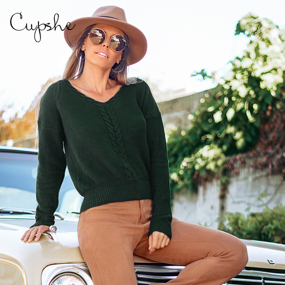 CUPSHE Forest Green V-Neck Sweater Women Casual Strappy Back Long Sleeve Jumpers Tops 2020 Autumn Winter Female Pullovers