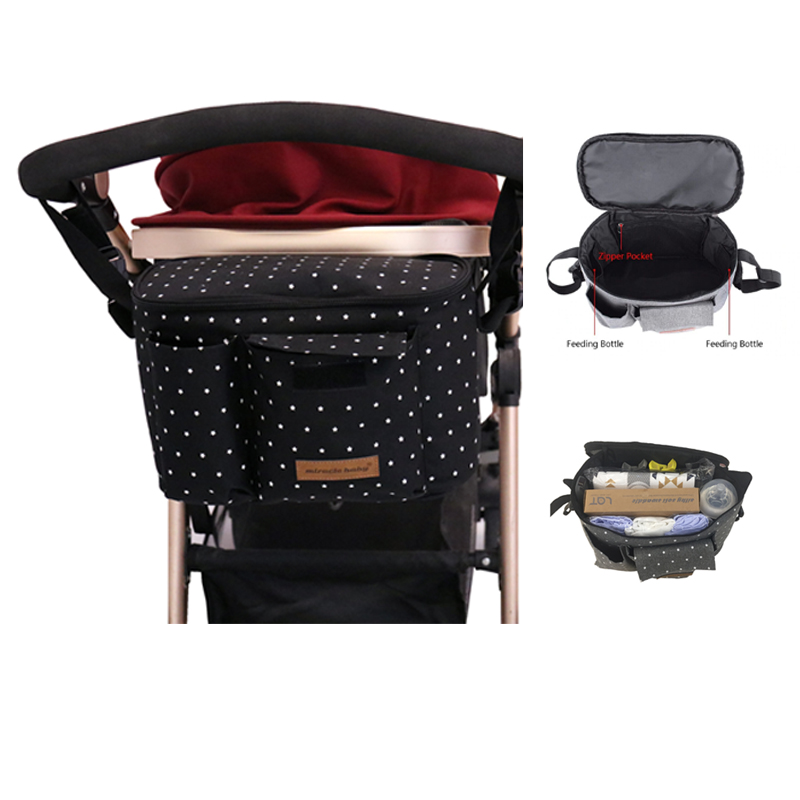 Baby Stroller Bag Large Capacity Diaper Bags Outdoor Travel Hanging Carriage Mommy Bag Infant Care Organizer