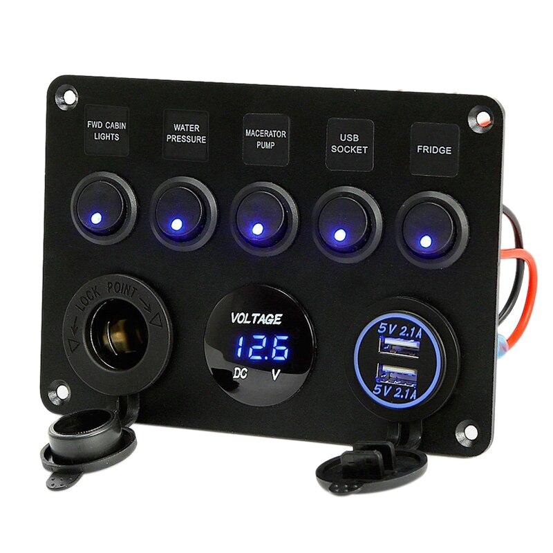 Caixa de fusível inline 5 gang azul led rocker switch painel voltímetro dupla usb carregador tomada 12 v 24 v veículo iate navio carro barco marinho