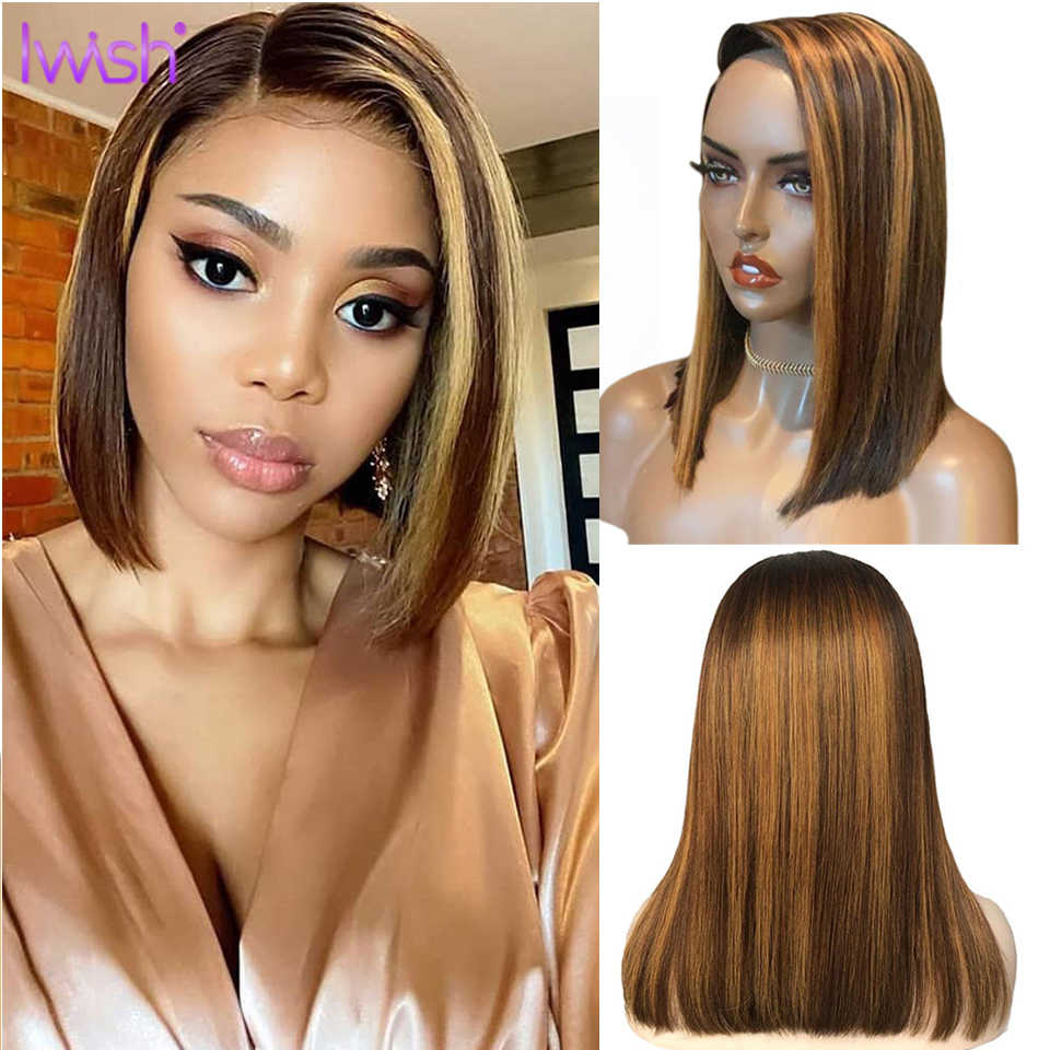 Ombre Highlight Perücke 13x4 Spitze Front Perücke Gerade Ombre Bob Perücke Ombre Braun Honig Blonde Kurze Bob Spitze front Perücke 150% Remy Haar